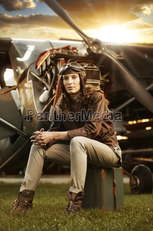 beautiful woman pilot