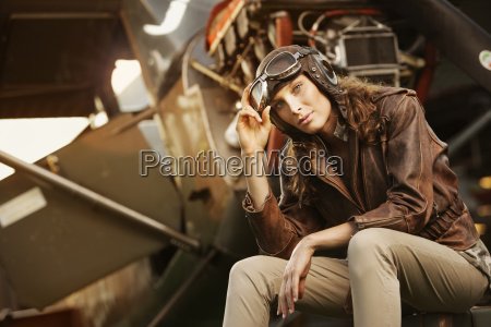 beautiful woman aviator