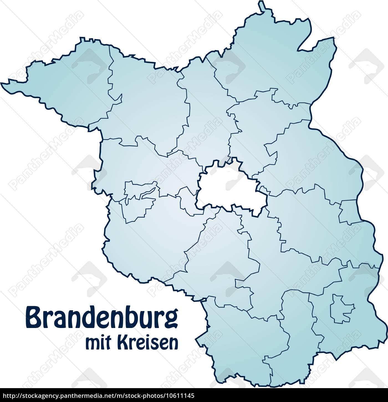 karte von brandenburg mit grenzen in blau lizenzfreies bild 10611145 bildagentur panthermedia. Black Bedroom Furniture Sets. Home Design Ideas