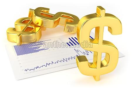 gold dollar signs und charts