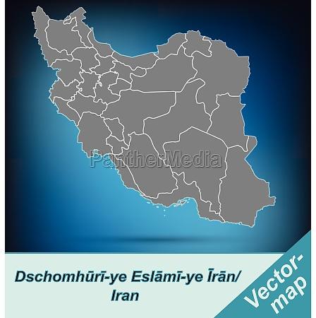 grenzkarte von iran mit grenzen in