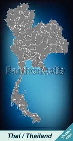 grenzkarte von thailand mit grenzen in