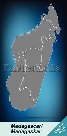 grenzkarte von madagaskar mit grenzen in