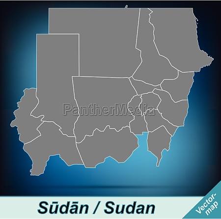 grenzkarte von sudan mit grenzen in