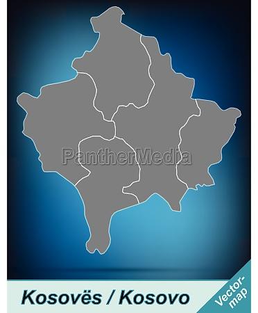 grenzkarte von kosovo mit grenzen in