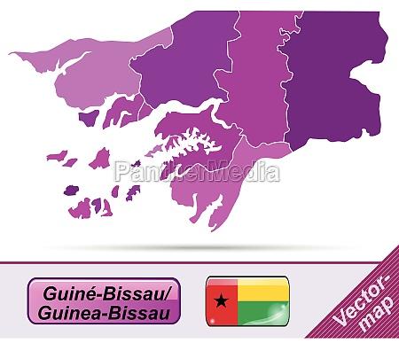 grenzkarte von guinea bissau mit grenzen