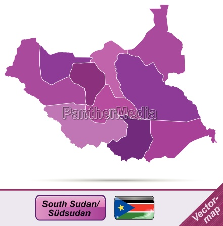 grenzkarte von suedsudan mit grenzen in