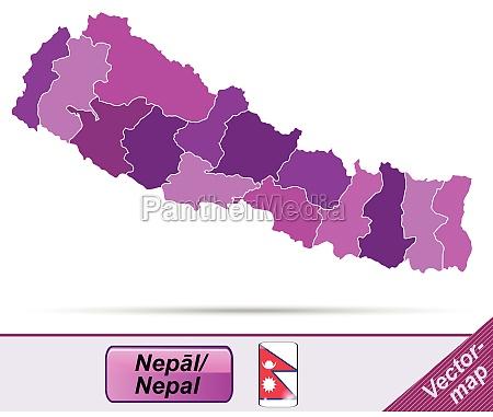 grenzkarte von nepal mit grenzen in