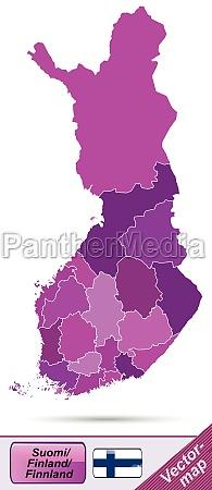 grenzkarte von finnland mit grenzen in