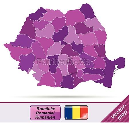 grenzkarte von rumaenien mit grenzen in