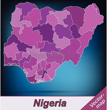 grenzkarte von nigeria mit grenzen in