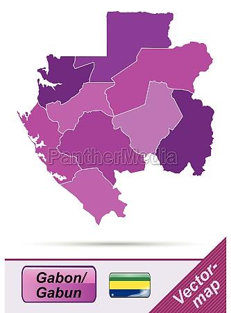 grenzkarte von gabun mit grenzen in