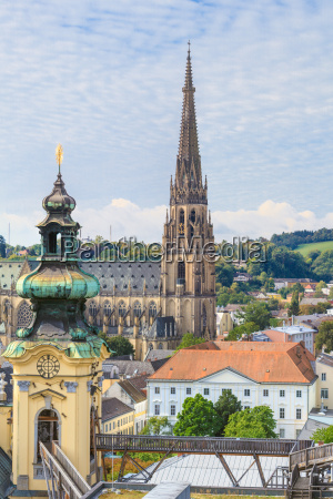 linz cityscape with new cathedral and