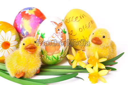 painted easter eggs with chicks
