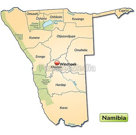 inselkarte von namibia mit grenzen in