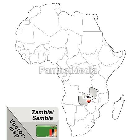 inselkarte von sambia mit hauptstaedten in