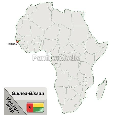 inselkarte von guinea bissau mit hauptstaedten