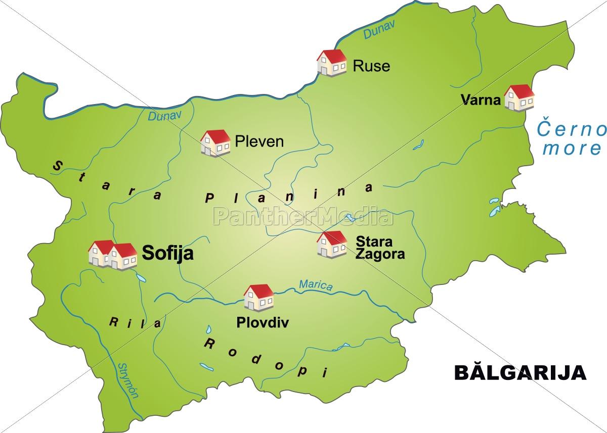 Karte Bulgarien.Lizenzfreie Vektorgrafik 10634169 Karte Von Bulgarien Als Infografik In Grun
