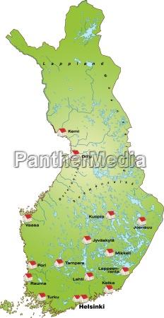 karte von finnland als infografik in