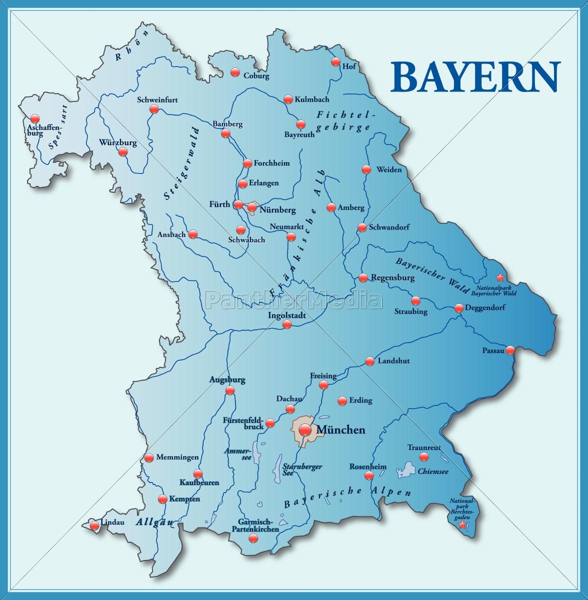 Karte Bayern.Lizenzfreie Vektorgrafik 10635159 Karte Von Bayern Als übersichtskarte In Blau