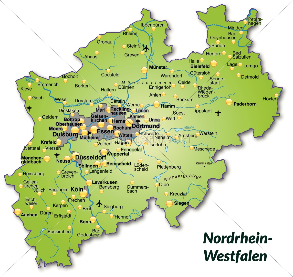 Nordrhein Westfalen Karte.Lizenzfreie Vektorgrafik 10636847 Karte Von Nordrhein Westfalen Als Ubersichtskarte In Grun