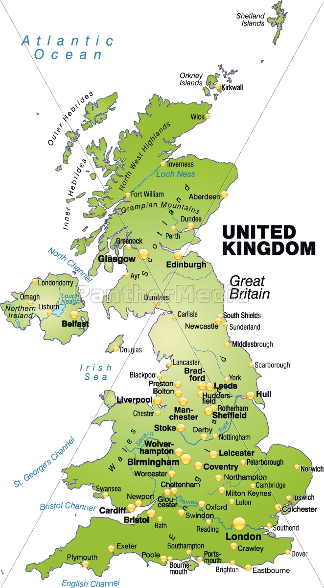 karte von england karte von england als übersichtskarte in grün   Lizenzfreies Bild