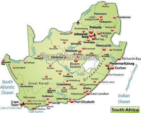inselkarte von suedafrika als UEbersichtskarte in