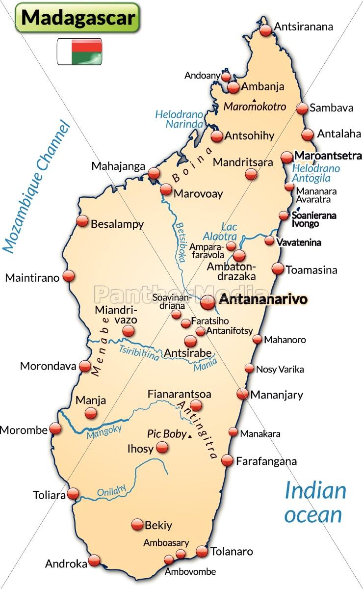 Madagaskar Karte.Lizenzfreie Vektorgrafik 10637989 Karte Von Madagaskar Als Ubersichtskarte In Pastellorange