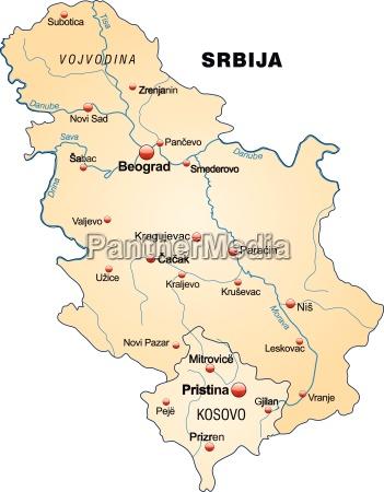 karte von serbien als UEbersichtskarte in