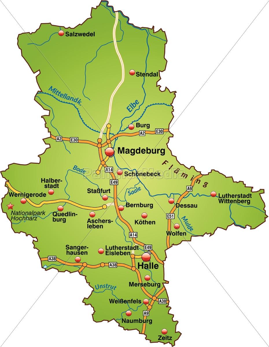 Karte Sachsen Anhalt.Lizenzfreie Vektorgrafik 10640201 Karte Von Sachsen Anhalt Mit Verkehrsnetz In Grün