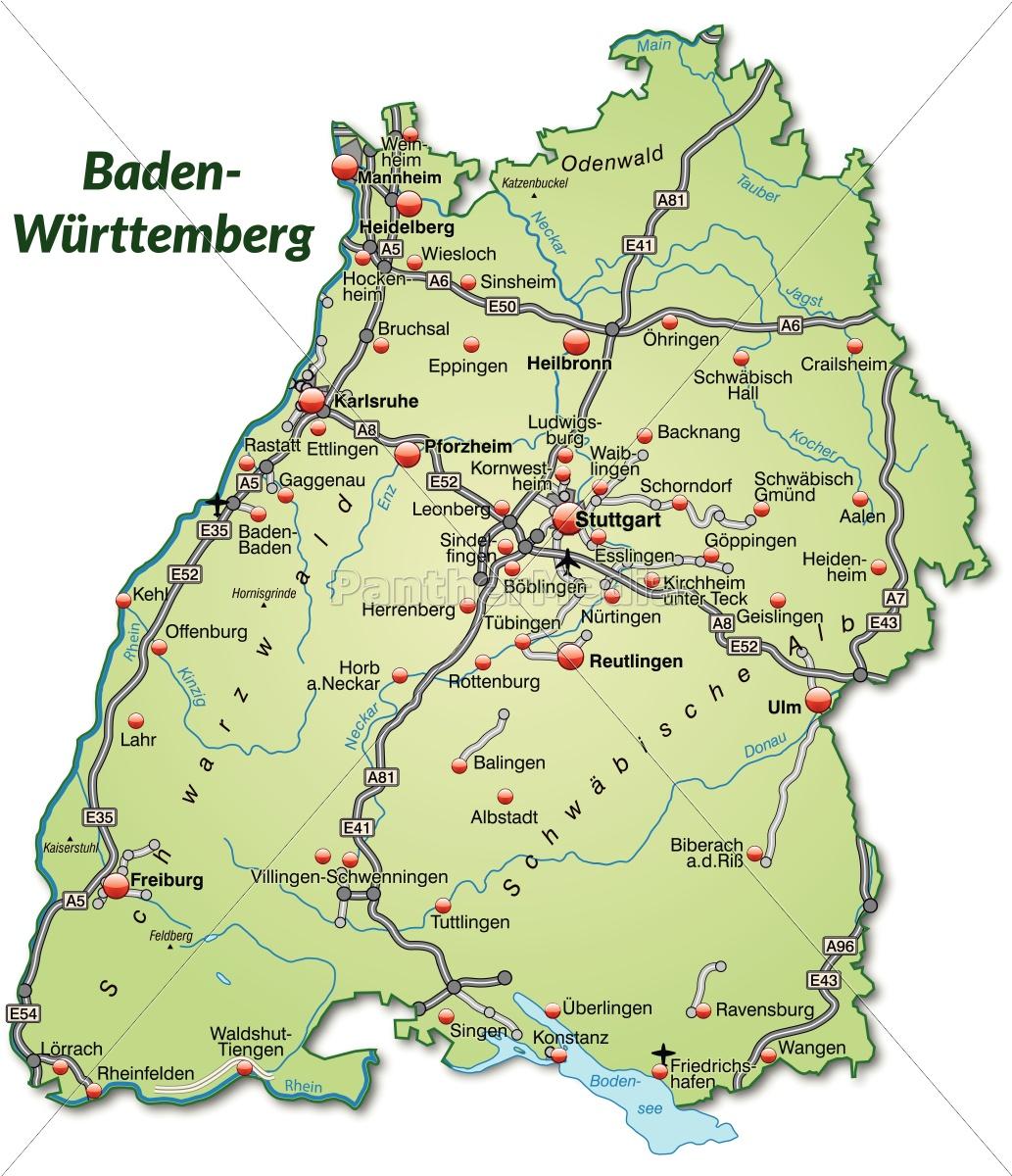 Baden Württemberg Karte.Lizenzfreie Vektorgrafik 10640307 Karte Von Baden Wuerttemberg Mit Verkehrsnetz In