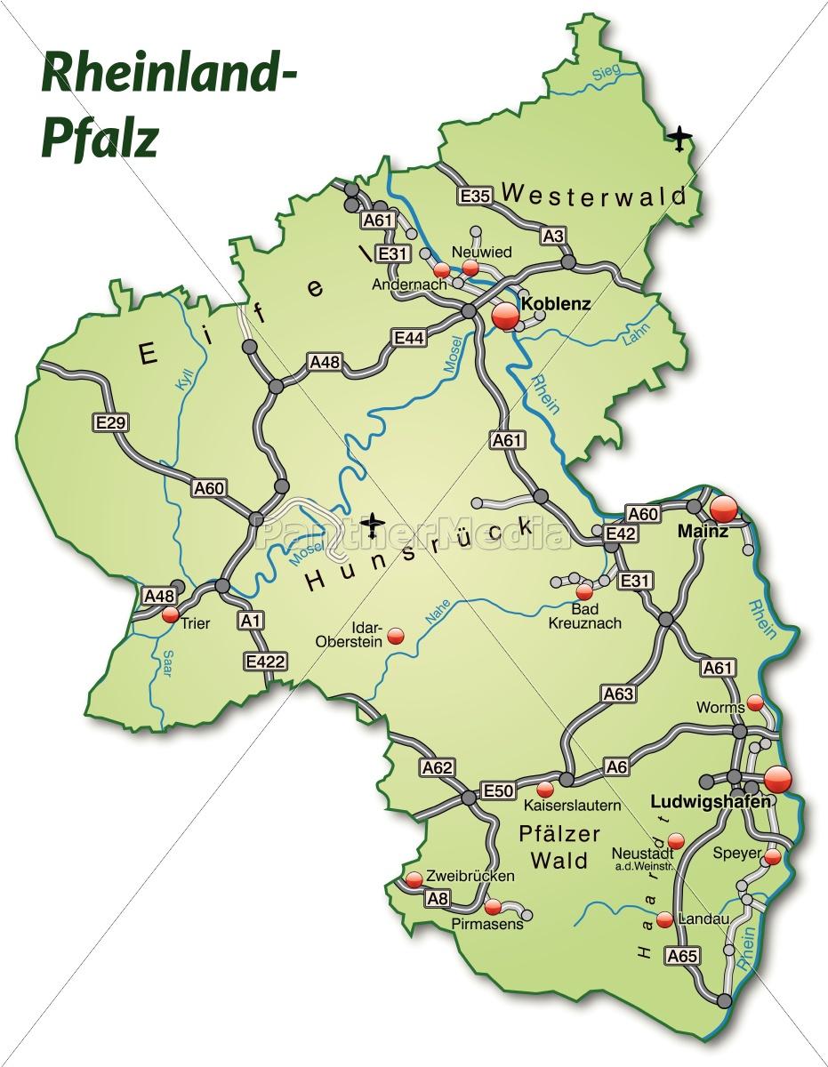 Karte Von Rheinland Pfalz Mit Verkehrsnetz In Lizenzfreies Bild