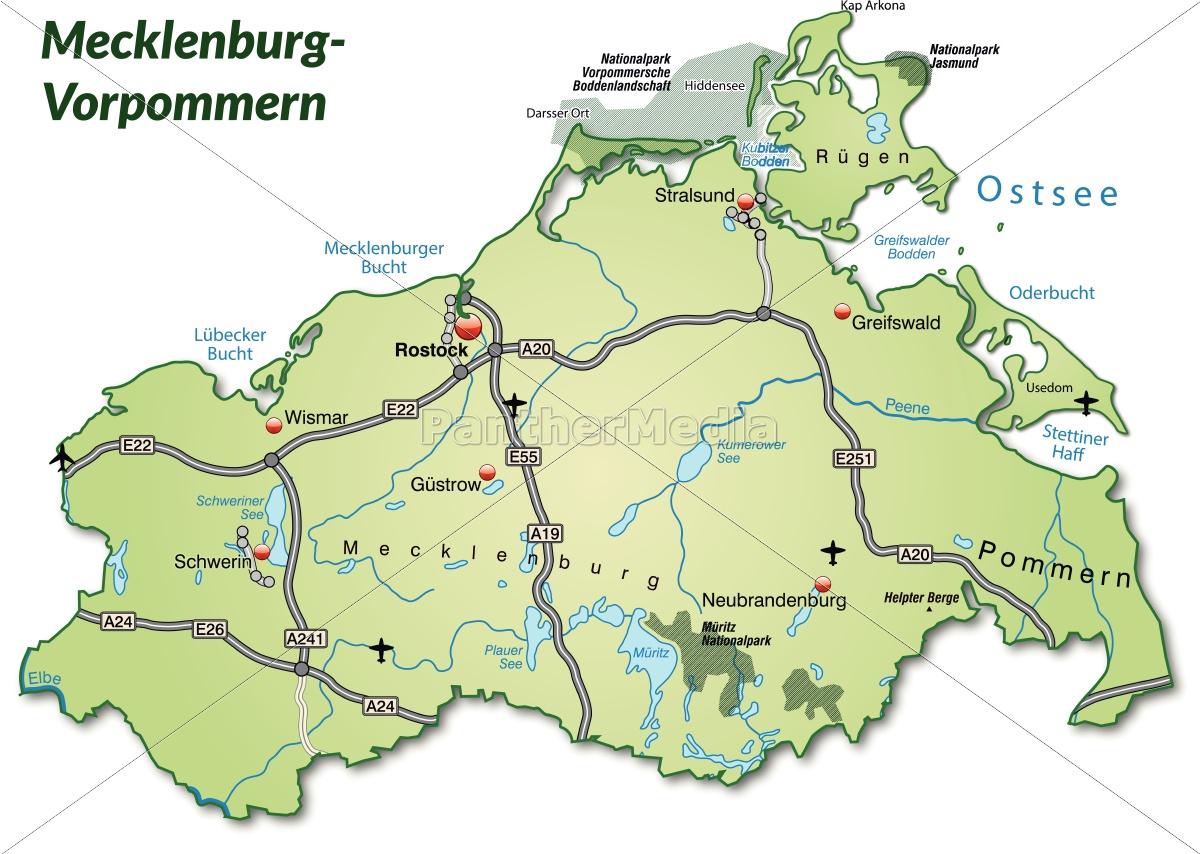Karte Von Mecklenburg Vorpommern Mit Verkehrsnetz In Stockfoto