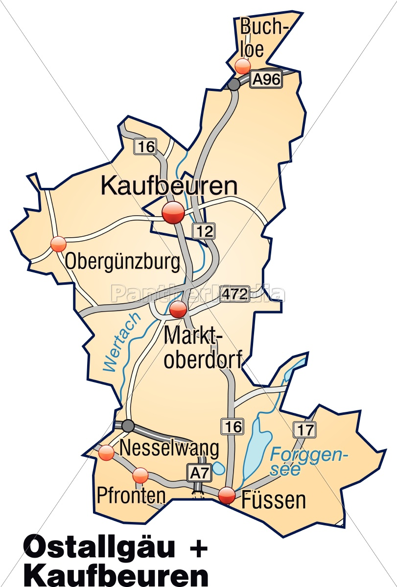 Map Of Ostallgaeu Kaufbeuren With Highways In Pastel Green