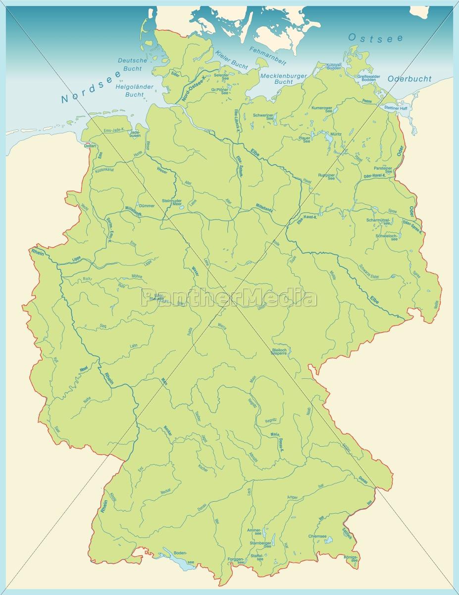 Karte Von Deutschland Mit Gewassernetz In Grun Lizenzfreies Bild