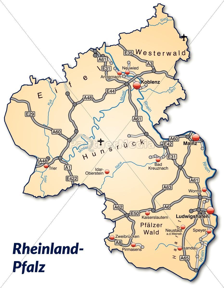 rheinland pfalz karte Karte von Rheinland Pfalz mit Verkehrsnetz in   Lizenzfreies Bild