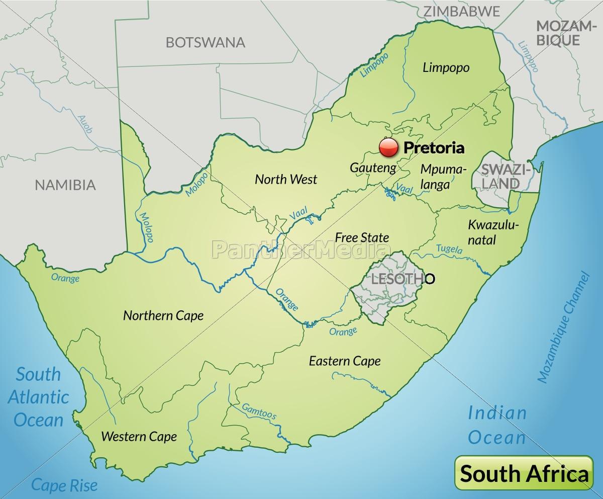 Südafrika Karte.Lizenzfreie Vektorgrafik 10644619 Karte Von Suedafrika Mit Grenzen In Pastellgrün
