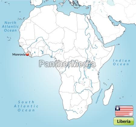 umgebungskarte von liberia mit hauptstaedten in