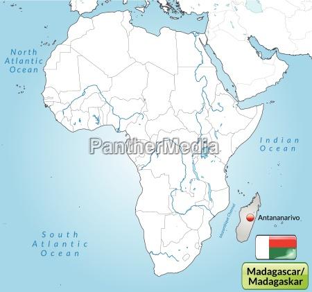 umgebungskarte von madagaskar mit hauptstaedten in