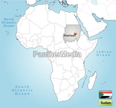 umgebungskarte von sudan mit hauptstaedten in