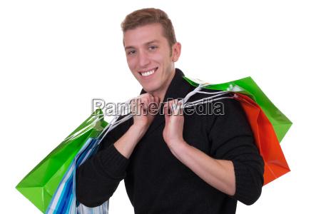 young man shopping or shopping