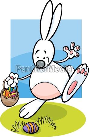bunny and easter eggs cartoon illustration