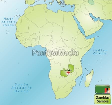 umgebungskarte von sambia mit hauptstaedten in