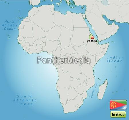 umgebungskarte von eritrea mit hauptstaedten in