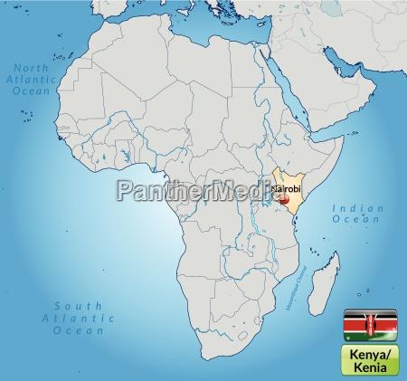 umgebungskarte von kenia mit hauptstaedten in