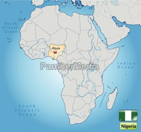 umgebungskarte von nigeria mit hauptstaedten in