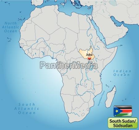 umgebungskarte von suedsudan mit hauptstaedten in