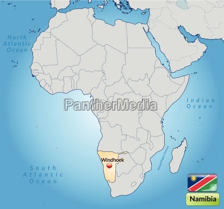 umgebungskarte von namibia mit hauptstaedten in