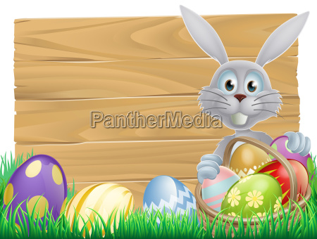 wooden sign easter white rabbit