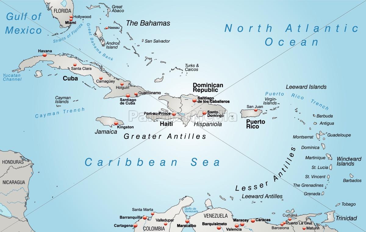 Karte Von Antillen Als Ubersichtskarte In Grau Lizenzfreies Bild